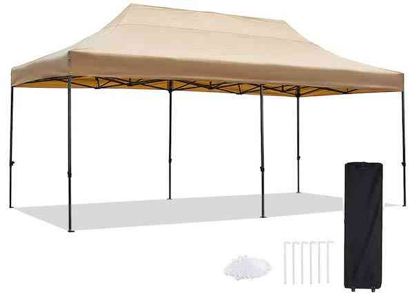 kdgarden 10 x 20 Ft. Straight Leg Pop Up Canopy Tent with Roller Bag