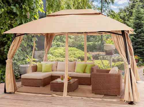 Barton 10' x 13' ft Garden Patio Gazebo Fully Enclosed Weather UV-Resistant w:Mosquito Netting and Curtains -Beige