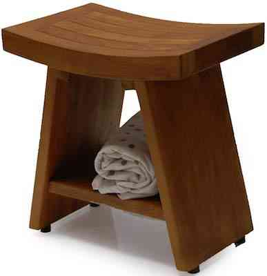 Heavy Fuji II Teak Shower Bench or Pool Side Bench Chair Height Stool by BayviewPatio