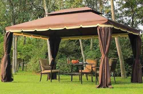 Outsunny 10' x 13' Aluminum Outdoor Garden Gazebo with Curtains - Coffee
