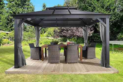 Sojag 12' x 14' Mykonos Double Roof Hardtop Gazebo Outdoor Sun Shelter, 12' x 14', Black