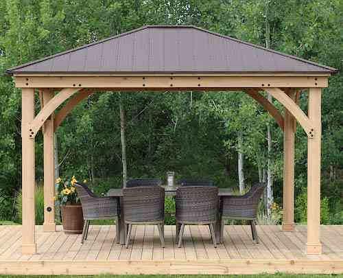 Yardistry 12' x 14' Wood Gazebo with Aluminum Roof