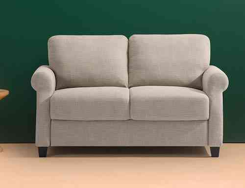Zinus Josh Traditional Upholstered 56in Sofa Couch-Loveseat, Beige Weave