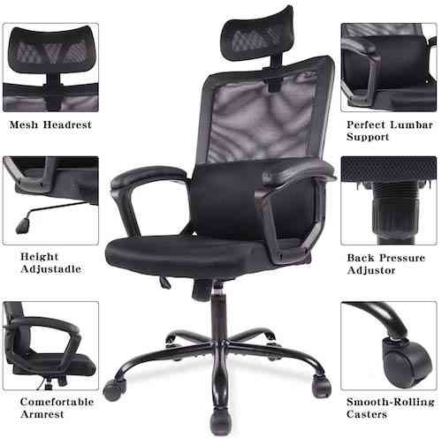 Smugdesk Ergonomic Office Chair Adjustable Headrest