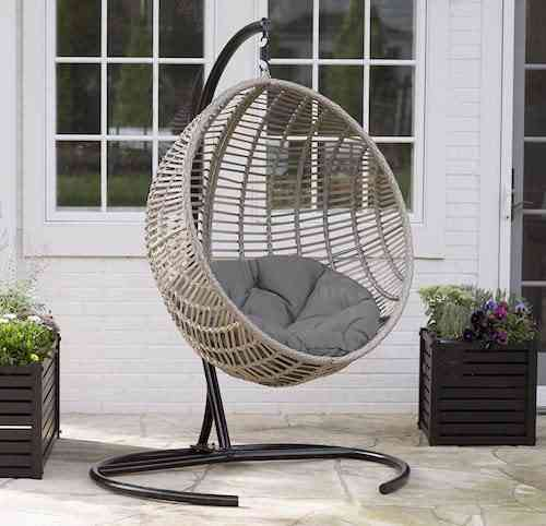 Boho-chic-style Resin Wicker Kambree Rib Hanging Egg Chair with Cushion and Stand