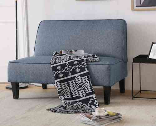 Cushioned Linen Armless Settee Loveseat Sofa Couch
